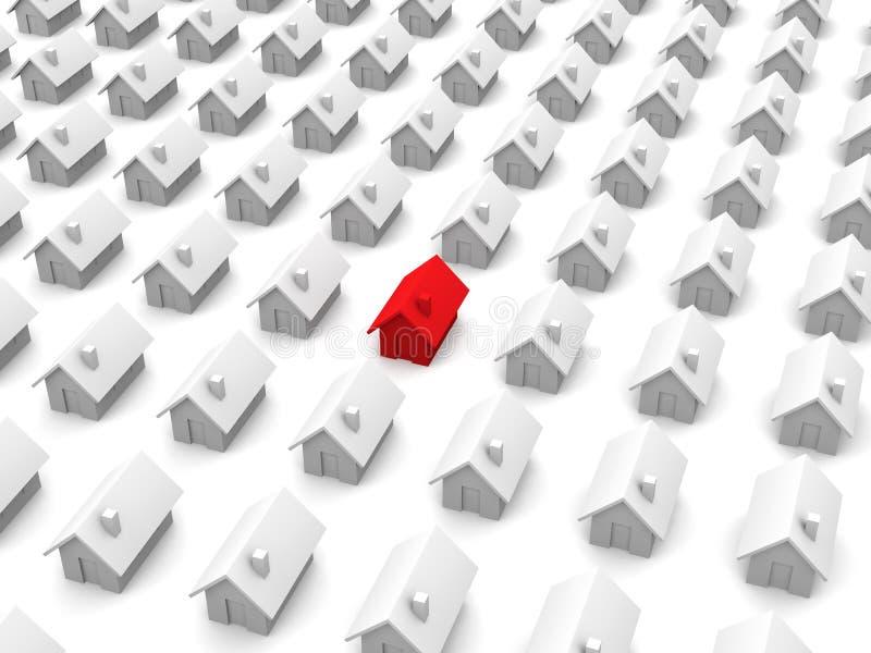 Casas del juguete - uno es rojo ilustración del vector