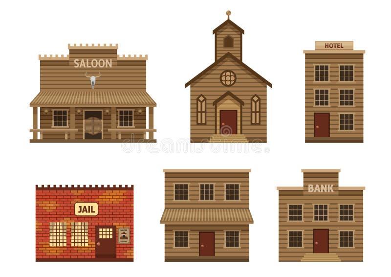 Casas del oeste salvajes fijadas stock de ilustración