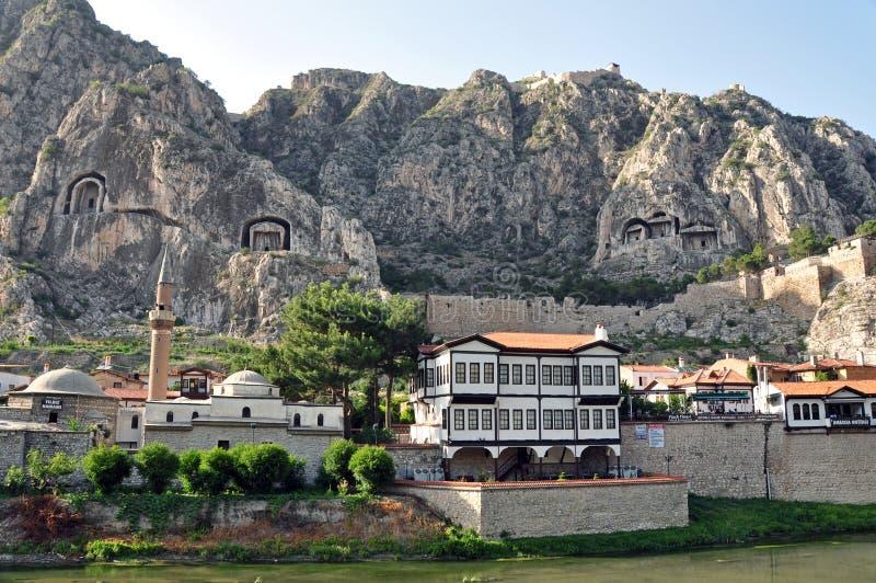 Casas del otomano de Amasya imagenes de archivo