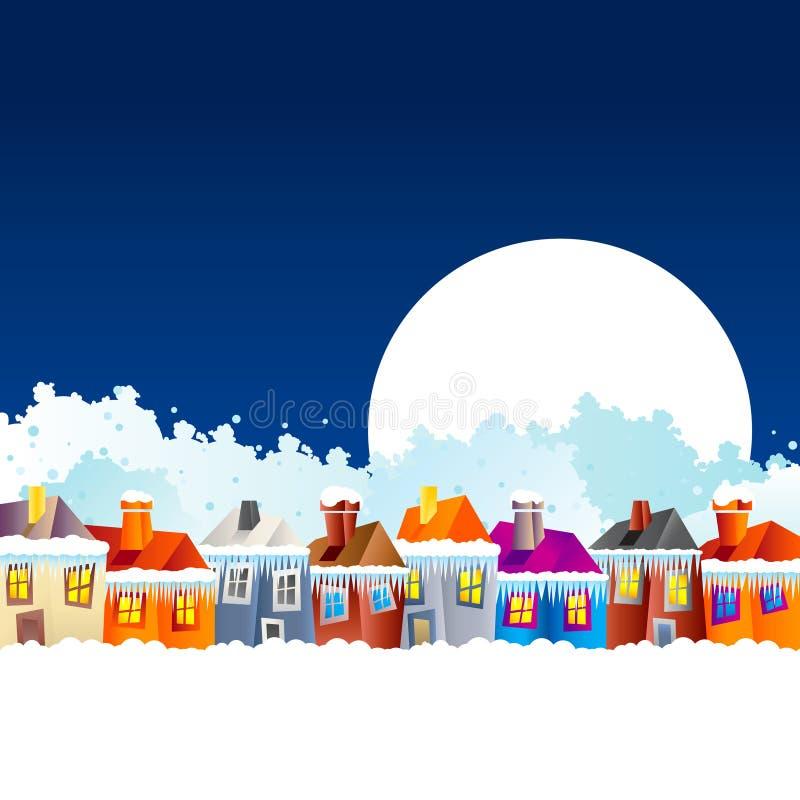 Casas del pueblo de la historieta en invierno ilustración del vector