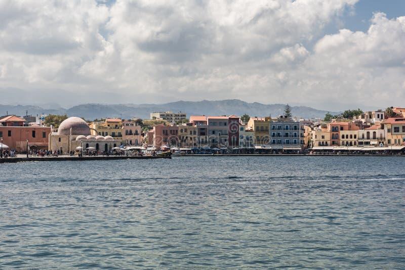 Casas del puerto de Chania fotografía de archivo libre de regalías