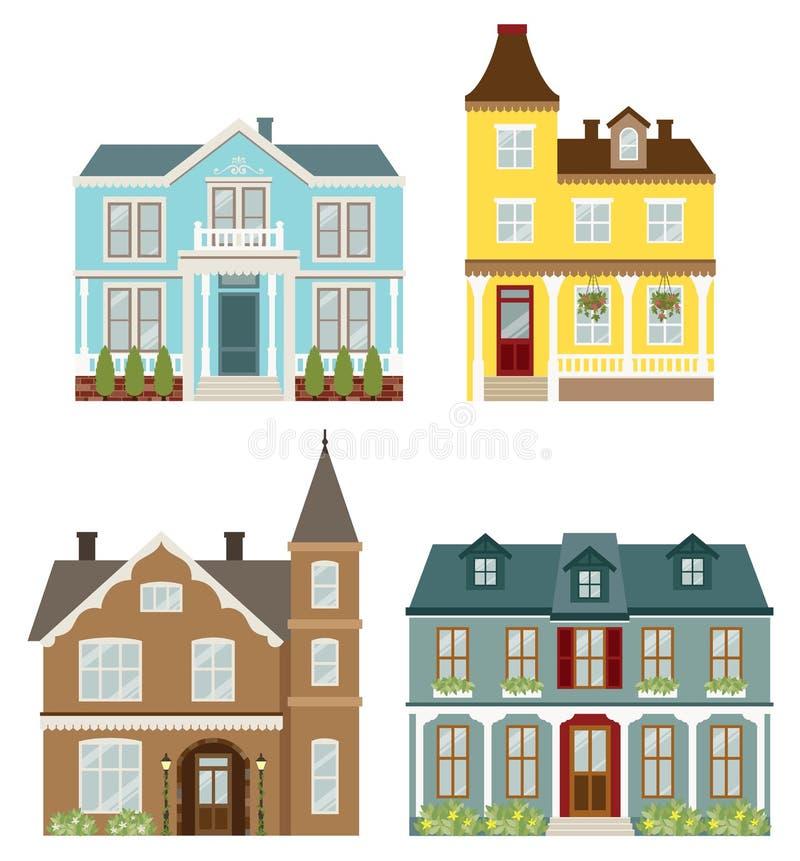 Casas del Victorian stock de ilustración