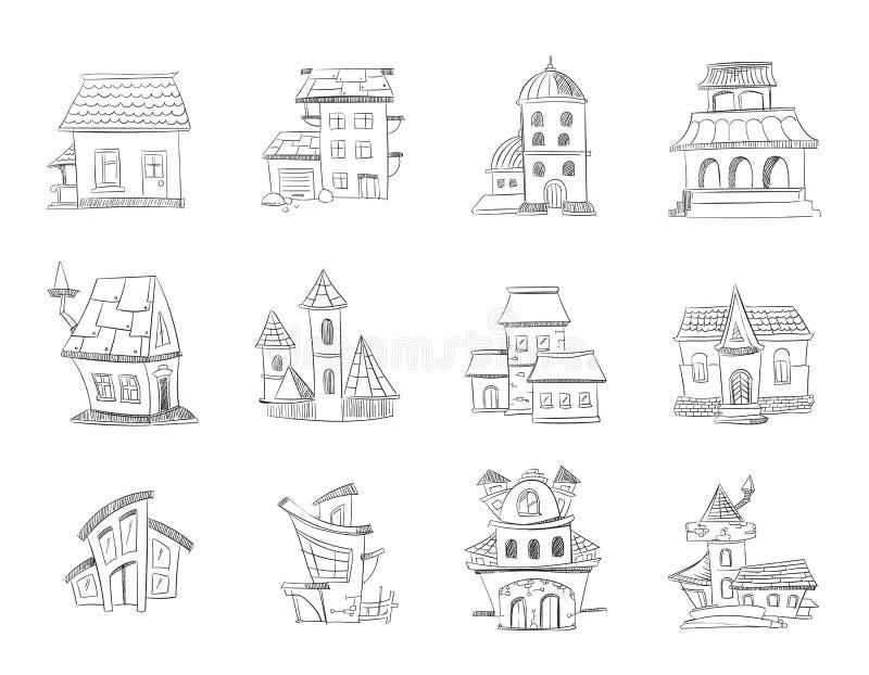 Casas dibujadas mano linda con las ventanas, vivienda del garabato, sistema incompleto del vector de los hogares ilustración del vector