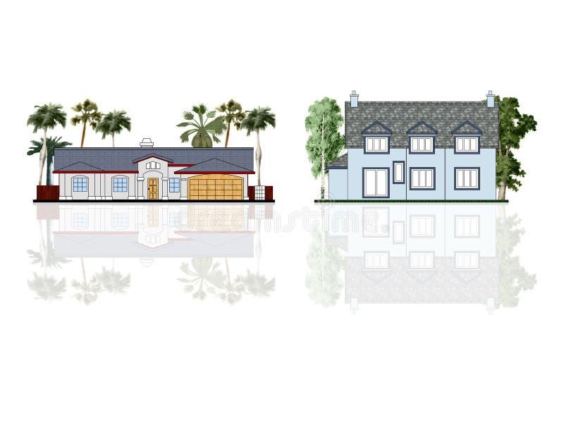 Casas diferentes, isoladas ilustração stock