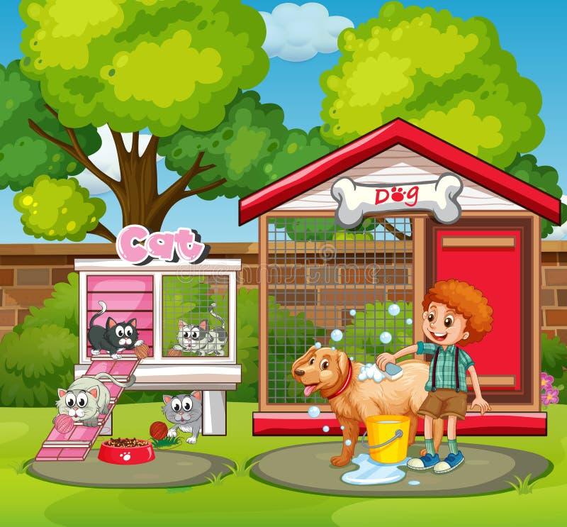 Casas do animal de estimação no jardim ilustração royalty free