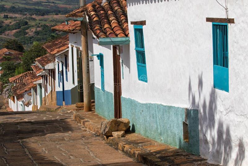 Casas do colonial de Barichara Colômbia foto de stock