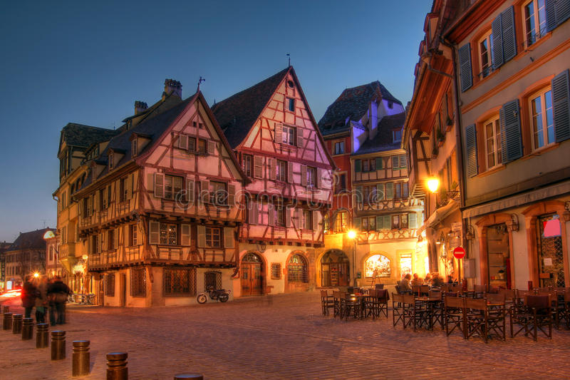 Casas do conto de fadas em Alsácia - Colmar, France fotos de stock royalty free