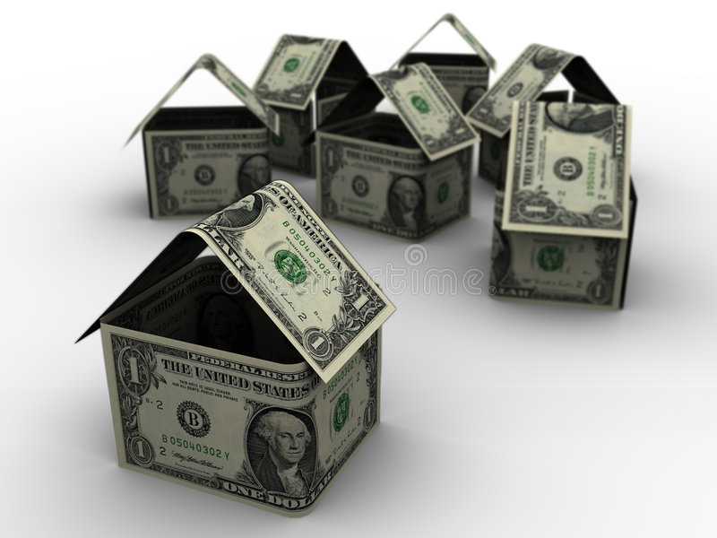 Casas do dólar em 3d ilustração stock