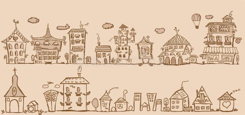 Casas do desenho da mão dos desenhos animados, vetor ilustração royalty free
