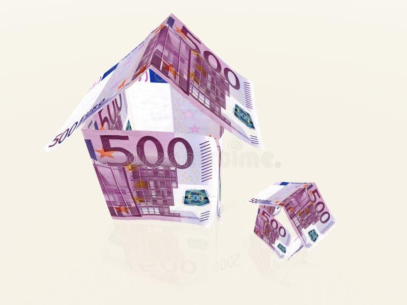 Casas do dinheiro feitas de 500 euro- cédulas imagens de stock