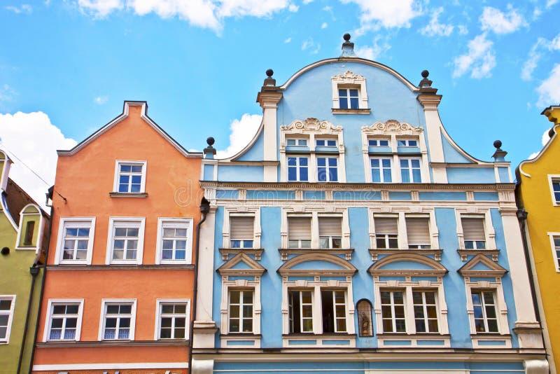 Casas do estilo do renascimento, Landshut, Alemanha imagem de stock