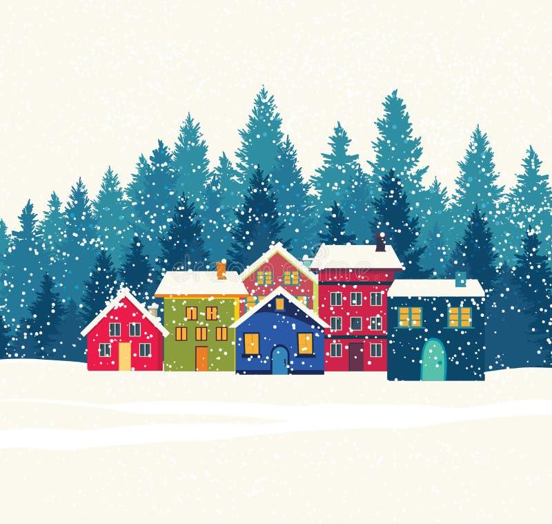Casas do inverno ilustração stock
