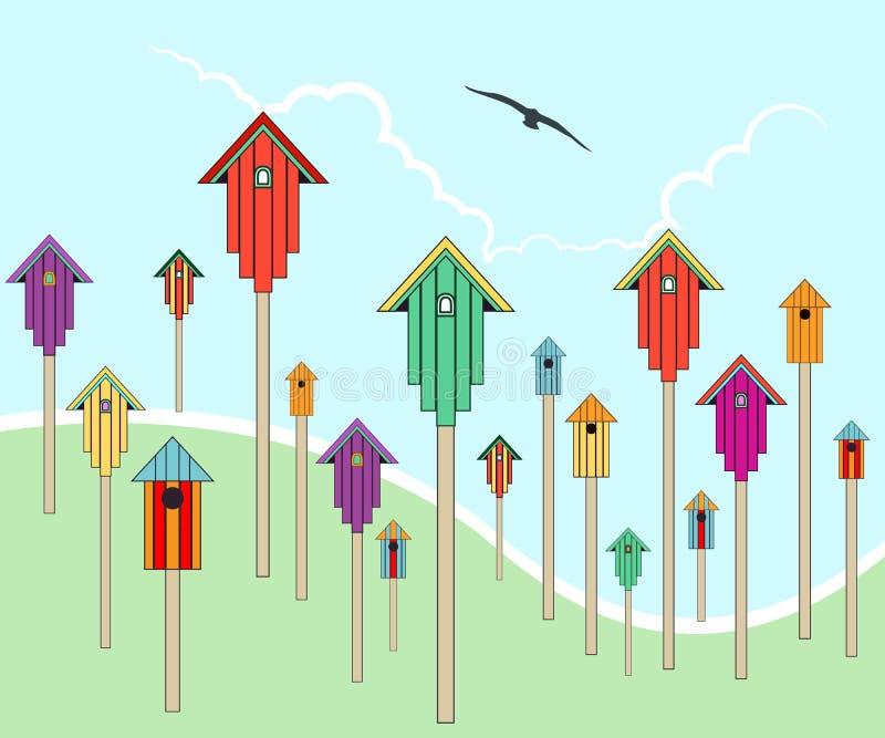 Casas do pássaro em um campo ilustração do vetor
