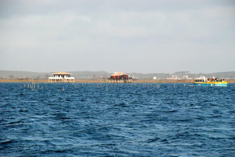 Casas dos pescadores no d'Arcachon de Bassin imagem de stock