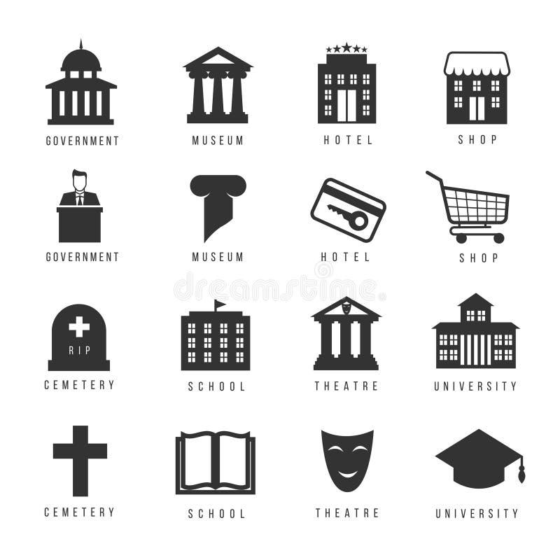 Casas e ícones municipais Sinais do governo da cidade ilustração do vetor