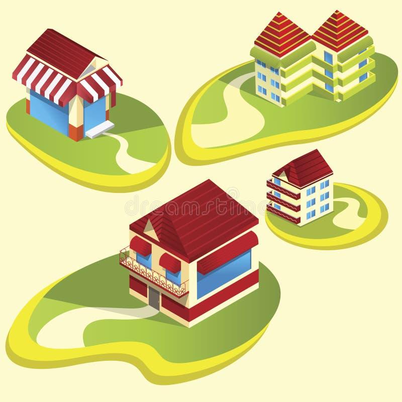 Casas e apartamentos ilustração royalty free