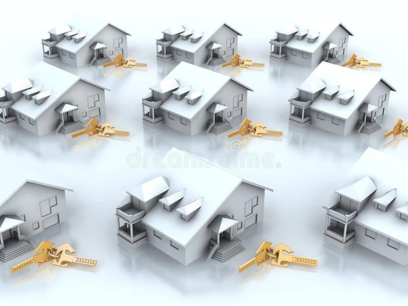 Casas e chaves ilustração stock