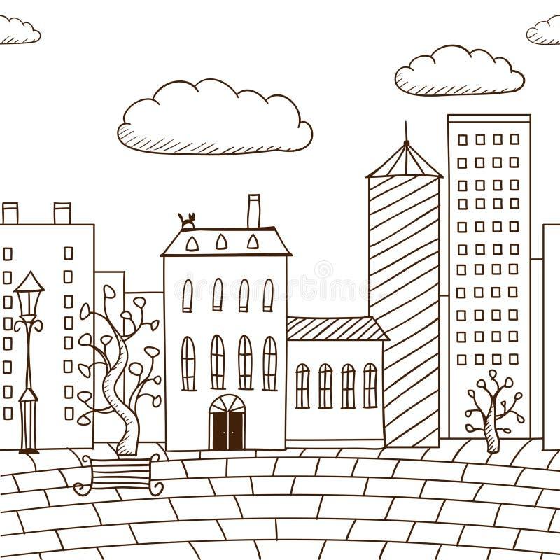 casas e estrada pintadas do entabuamento ilustração do vetor