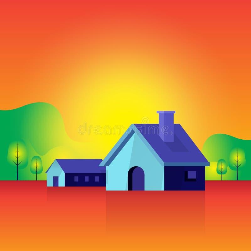 Casas e paisagem atmosfera da natureza da casa Árvore Sun Fundo ilustração stock