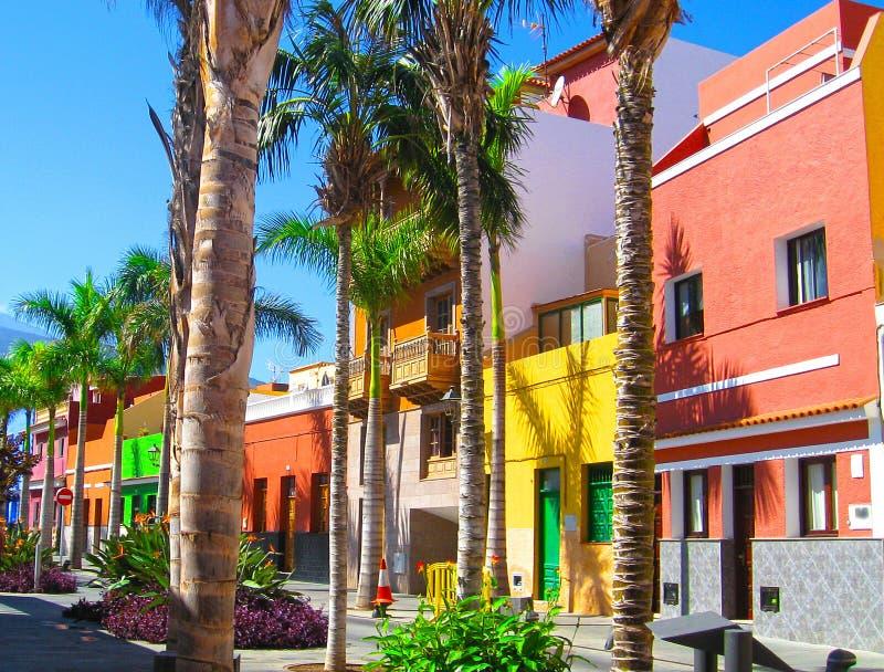 Casas e palmeiras coloridas na rua na cidade de Puerto de la Cruz, Tenerife, Ilhas Canárias, Espanha Vista do vulcão Teide fotografia de stock royalty free