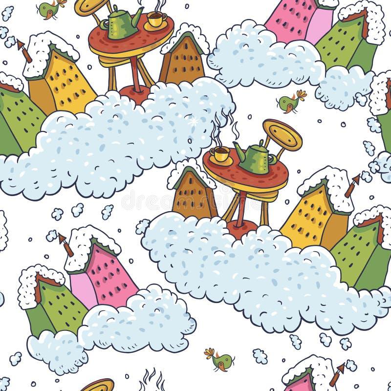 Casas e tea party sem emenda do fundo do Natal ilustração do vetor