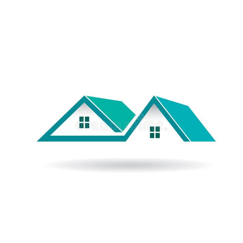 Casas e telhados para bens imobiliários ilustração stock