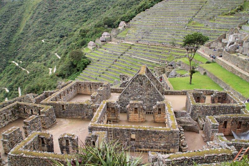 Casas e terraços de Machu Picchu foto de stock royalty free
