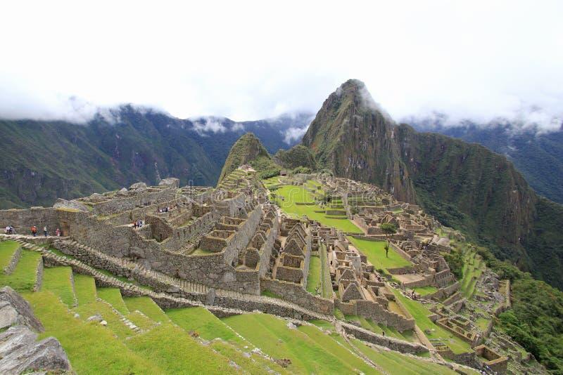 Casas e terraços de Machu Picchu fotografia de stock