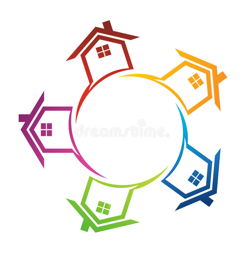 Casas em torno de um círculo ilustração do vetor
