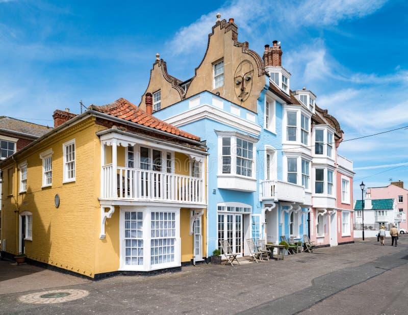 Casas en Aldeburgh, Suffolk, Inglaterra imágenes de archivo libres de regalías