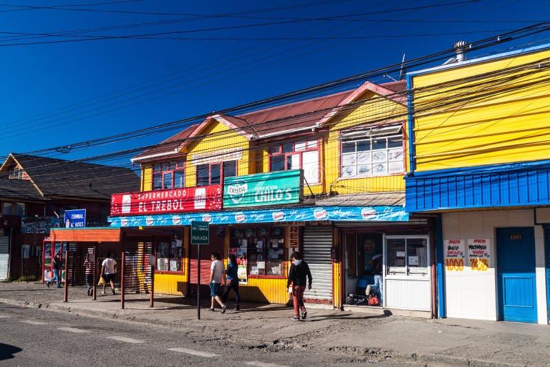 Casas en Castro, isla de Chiloe fotos de archivo libres de regalías