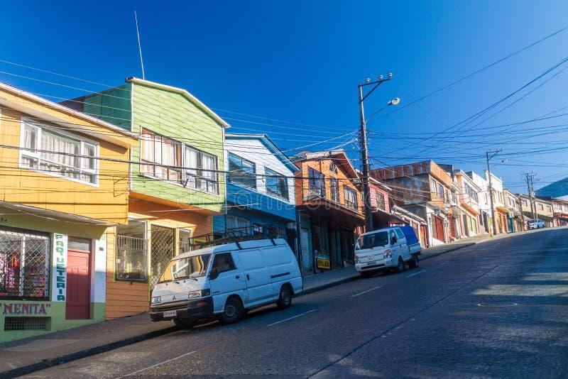 Casas en Castro, isla de Chiloe foto de archivo