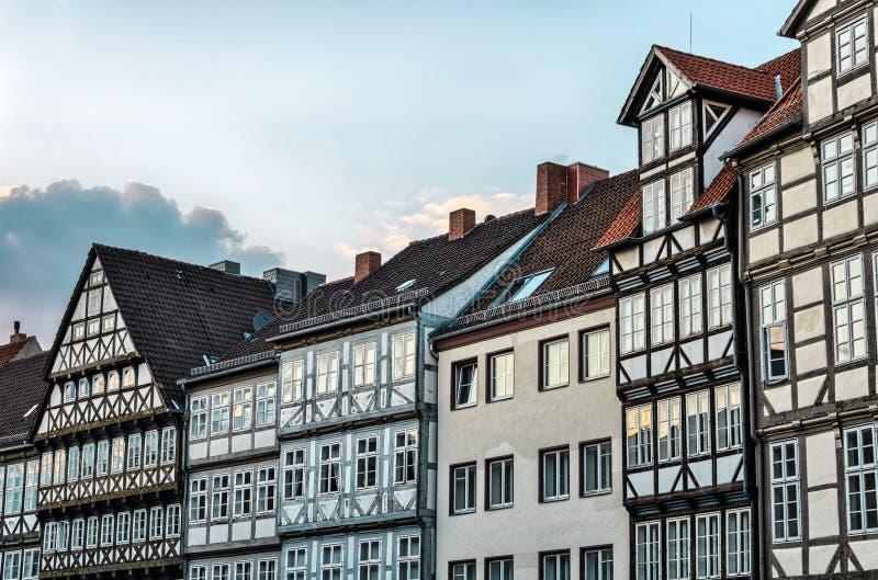 Casas en la ciudad vieja de Hannover, Alemania imágenes de archivo libres de regalías