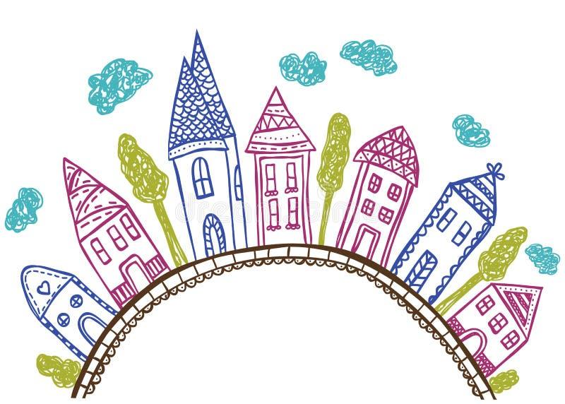 Casas en la colina - ilustración del doodle ilustración del vector