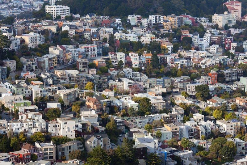 Casas en la vecindad de Buena Vista en San Francisco imagen de archivo