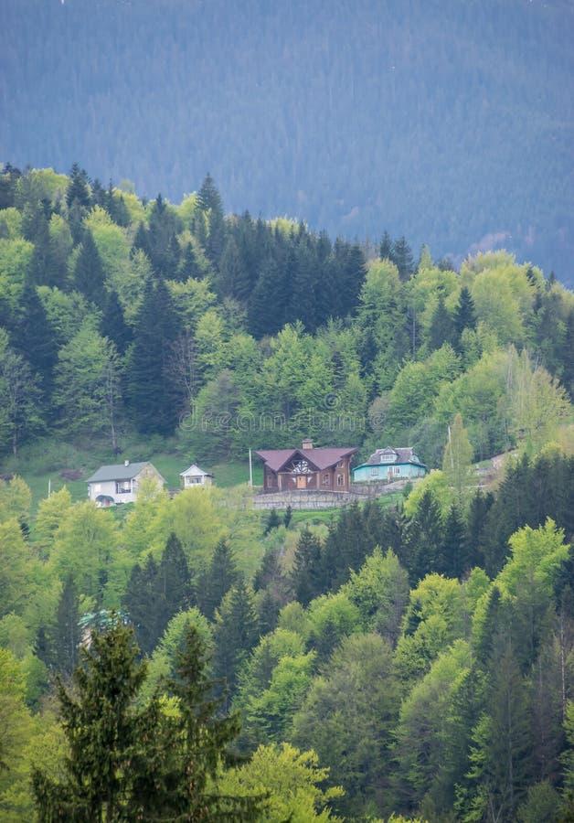Casas en las colinas foresty de Cárpatos imagen de archivo libre de regalías