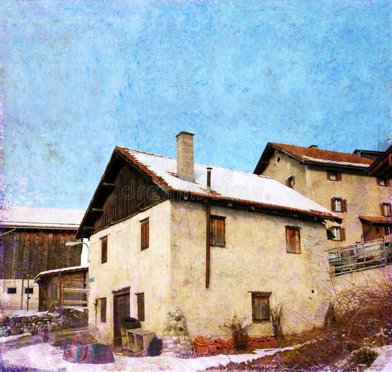 Casas en las montan@as suizas imagen de archivo libre de regalías