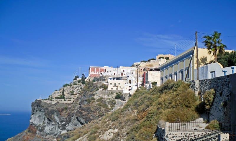 Casas en Thira en Santorini fotografía de archivo libre de regalías