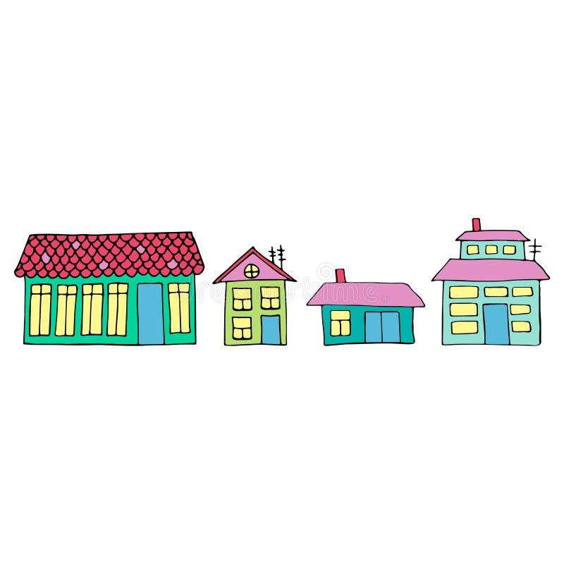 Casas en una calle Ejemplo de un paisaje de la ciudad con la casa urbana Doodle el estilo stock de ilustración