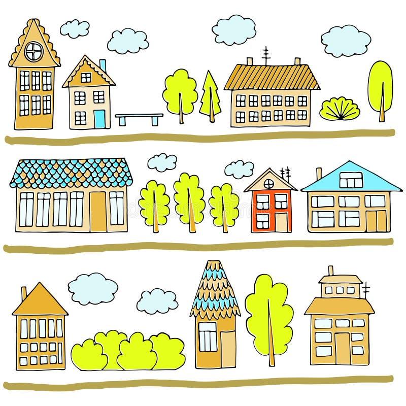 Casas en una calle Ejemplo de un paisaje de la ciudad con la casa urbana, los árboles, el banco y las nubes Doodle el estilo stock de ilustración