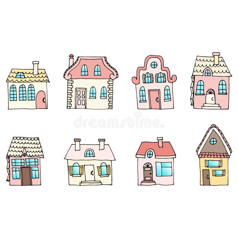 Casas en una calle situada en dos filas Ejemplo de una ciudad l ilustración del vector