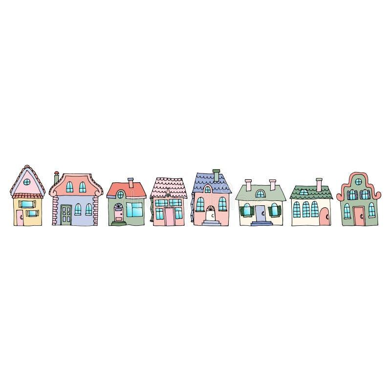 Casas en una calle situada en una fila Ejemplo de un la de la ciudad libre illustration