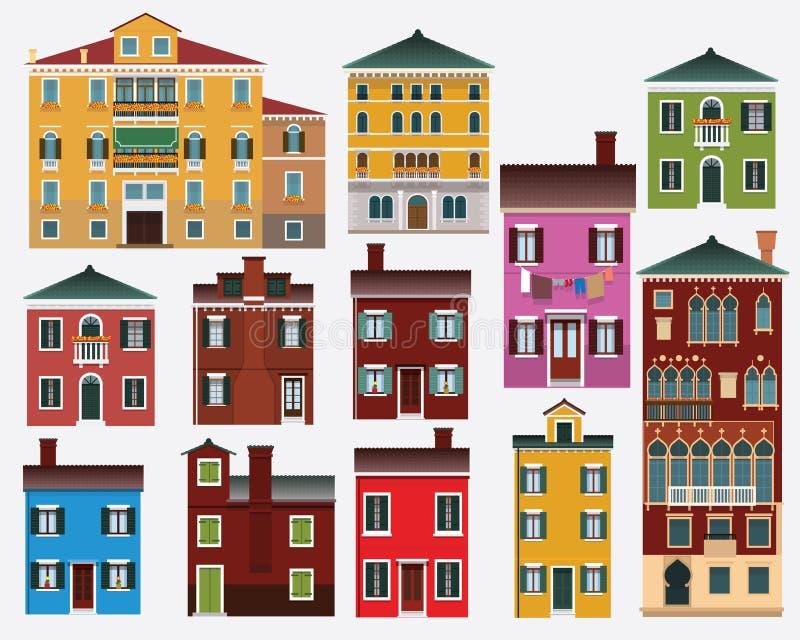 Casas europeas (Italia) stock de ilustración