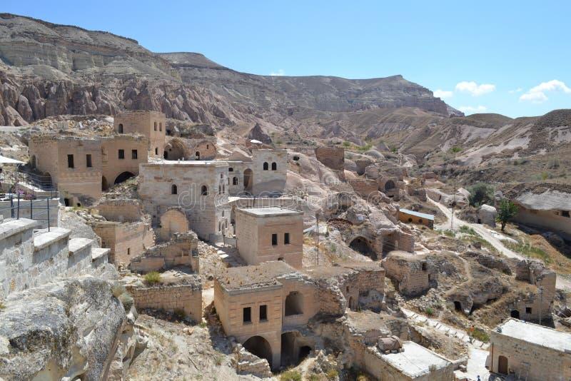 Casas extravagantes velhas, ideia da região de Cappadocia imagens de stock royalty free