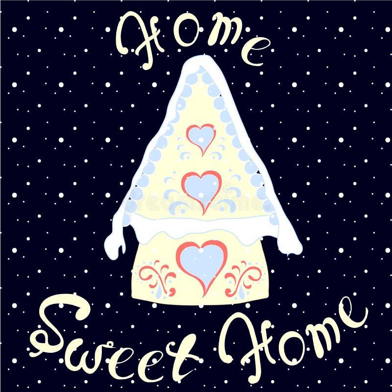 Casas fabulosas coloridas de la Navidad, poniendo letras al hogar casero, dulce, romántico lindo stock de ilustración