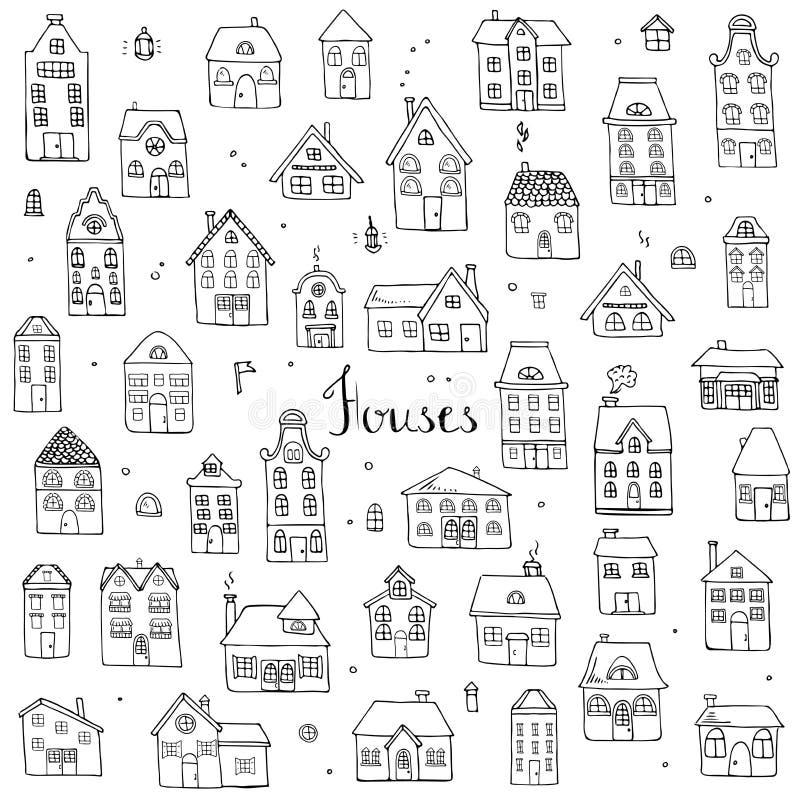 Casas fijadas stock de ilustración