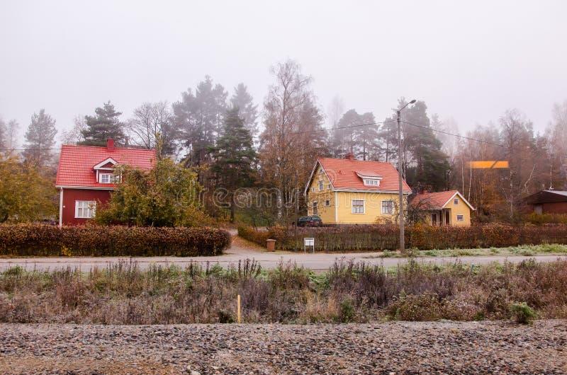 Casas finlandesas tradicionais fotos de stock