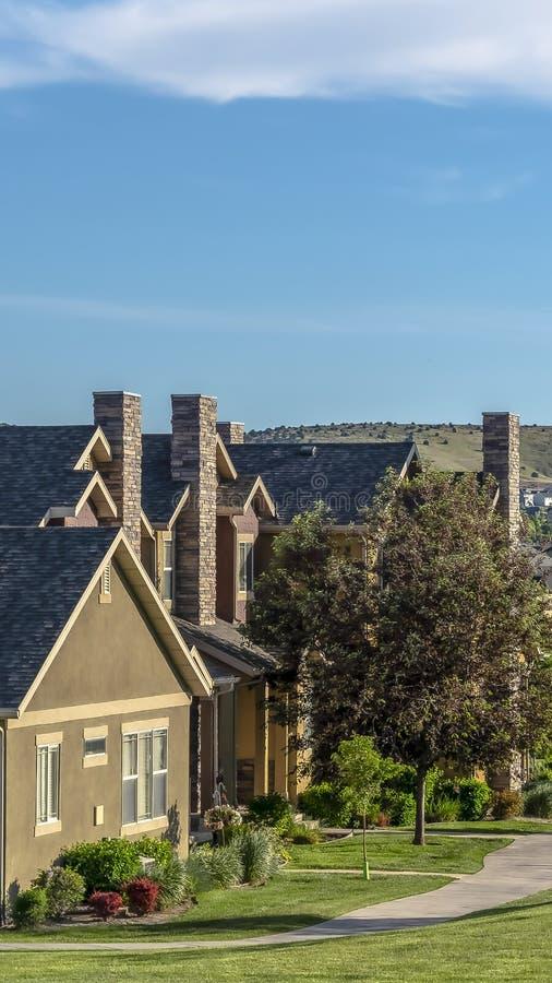 Casas hermosas del marco vertical en una vecindad rodeada por los árboles y el terreno herboso foto de archivo