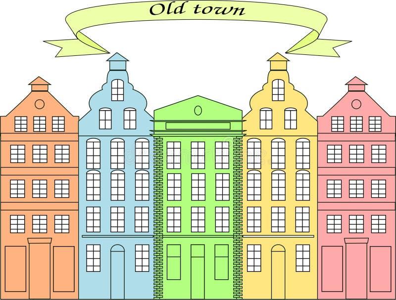 Casas hermosas en la ciudad vieja 2 foto de archivo libre de regalías