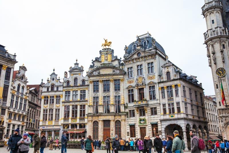 Casas históricas da guilda de Grand Place em Bruxelas fotografia de stock royalty free